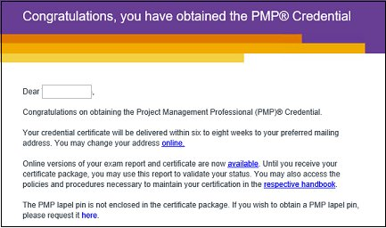 Congratulations, you have obtained the PMP certification